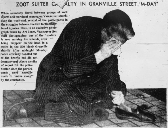 An injured zoot suiter on Granville Street.