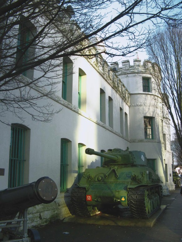 The Beatty Street Drill Hall. The tank is a Sherman, named after General WT Sherman who resigned his post in San Francisco in protest of the vigilantism that took over that city in 1856.