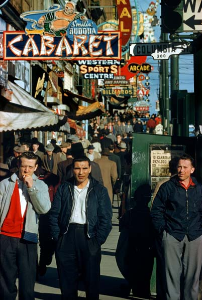 Hastings at Columbia, 1958, by Fred Herzog. At the time, this intersection was the epicentre of Canada's largest drug scene.
