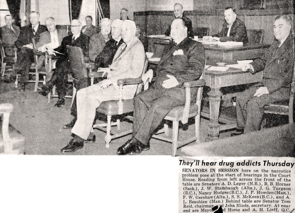 Senate Committee on the Traffic in Narcotic Drugs. Vancouver Province, 19 April 1955.