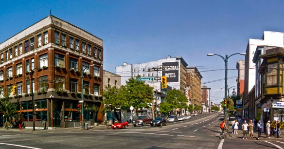 """The Corner"" today, Hastings at Columbia. The building on the left was the Broadway Hotel in the 1950s."