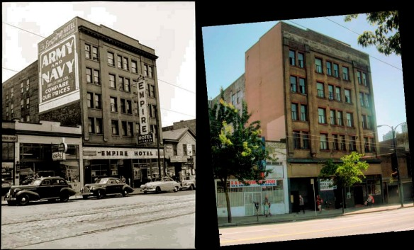 The Empire Hotel (now the Brandiz) on the 100 block East Hastings, 1951 and 2008.