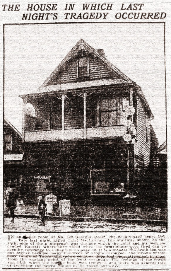 The scene of the crime, 522 East Georgia, from the Vancouver Daily Province, 21 March 1917.