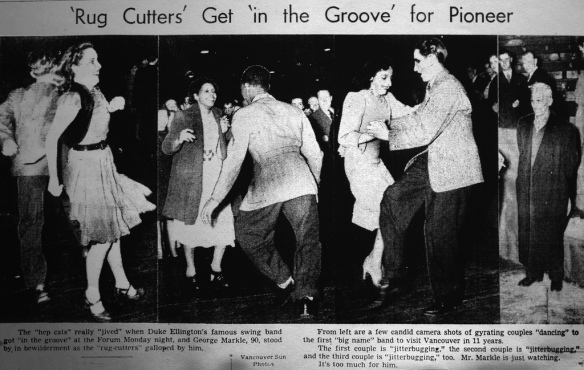 Jitterbugs and hep cats at Duke Ellington's Vancouver debut in 1940. Vancouver Sun, 16 April 1940.