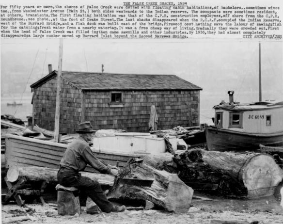 A False Creek squatter's shack, 1934, with notes by city archvist Major Matthews. Photo City of Vancouver Archives #WAT P 128.