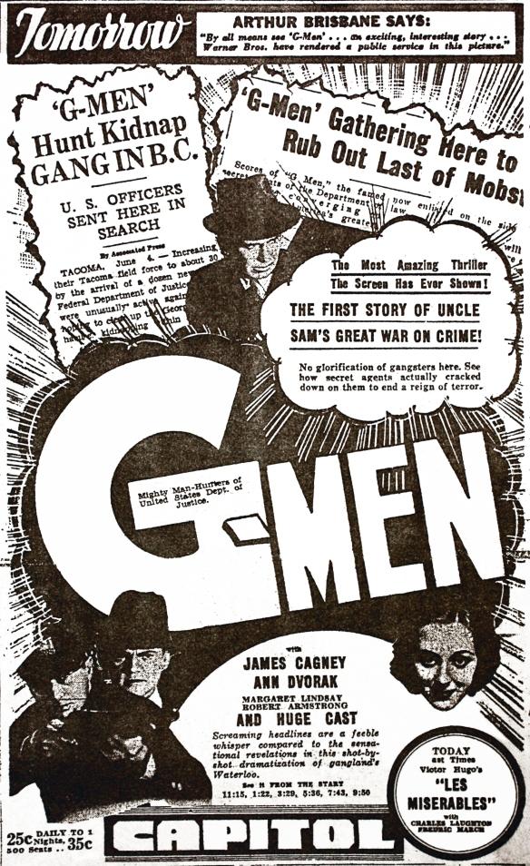 G-Men movie ad, Province, 6 June 1935