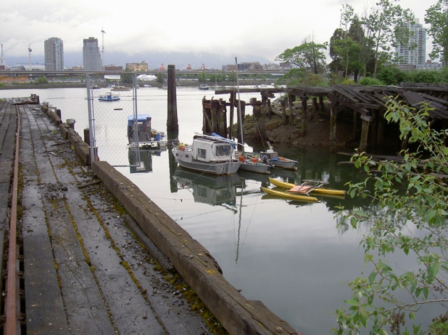 This little inlet on False Creek once extended as far south as 1st Avenue and was a place squatters could moor without impeding other False Creek users. This photo was taken by John Allison in 2005, the year before squatters were all evicted from False Creek.