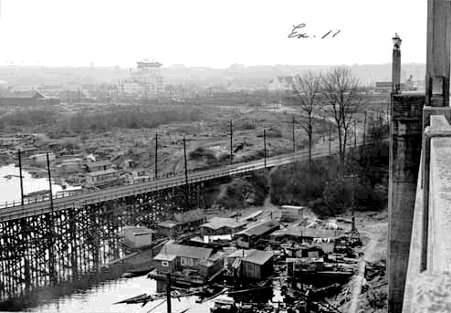Squatters to the west of Burrard St Bridge in the 1930s. Photo Vancouver Public Library #13177.