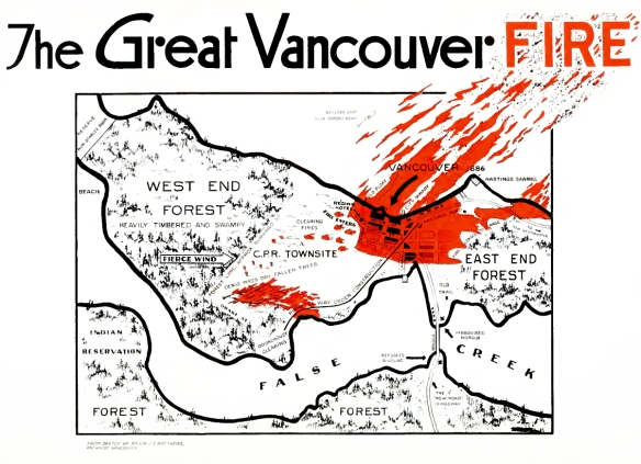 Map of the fire based on eyewitness accounts collected by archivist Major Matthews.