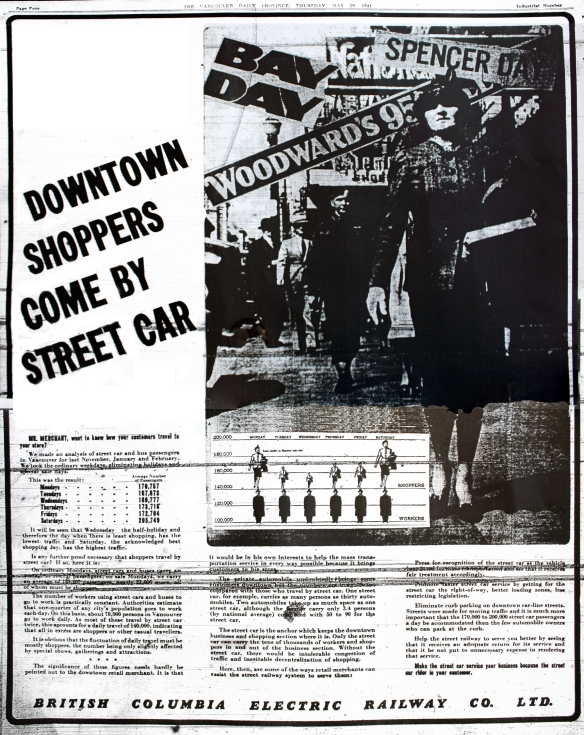 BCER street car ad, Province, 29 May 1941