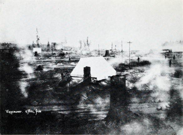 The southeast corner of Cordova and Carrall the morning after the fire. The Regina Hotel at Cambie and Water is in the distance, and the smaller white tent in the upper left is about where Woodward's is today.