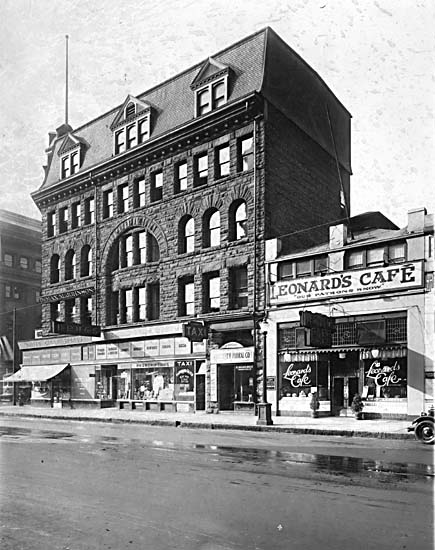 Leonard's Cafe at 716 West Hastings in the 1920s. Unemployed men, deceptively dressed like regular people, dined here for free in 1923, for nourishment and to protest their plight. City of Vancouver Archives #1399-390