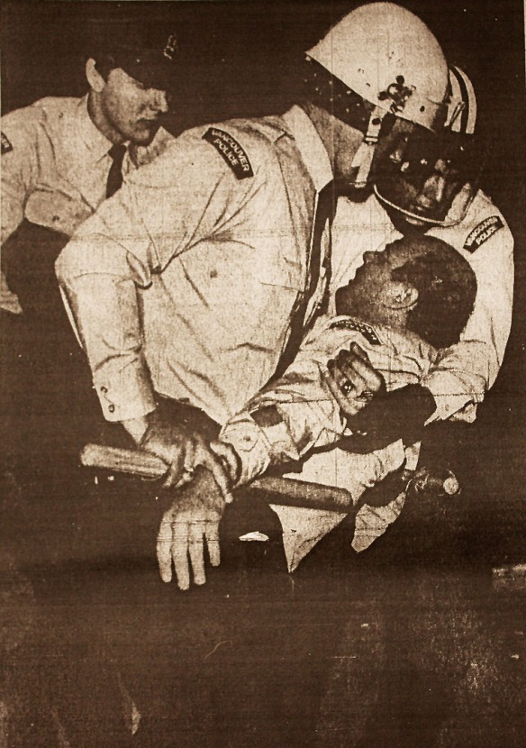 Cop injured at the Rolling Stones Riot, Vancouver Sun 5 June 1972