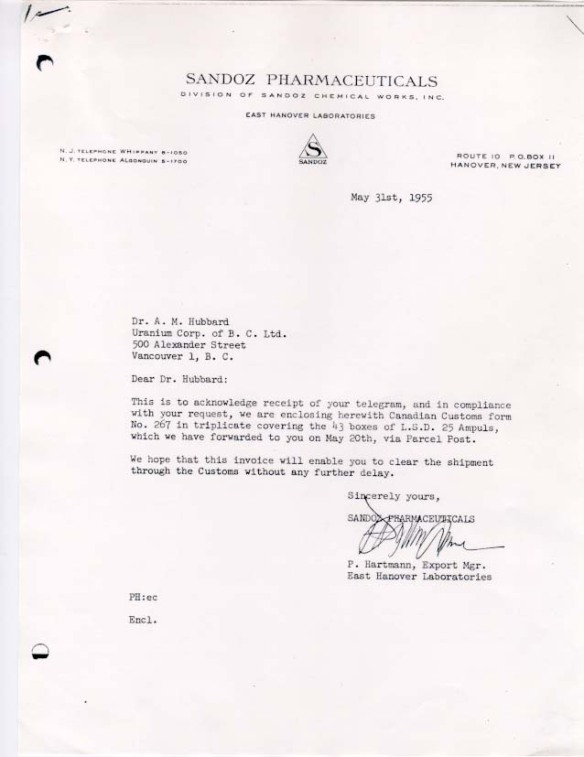 Letter to Dr AM Hubbard from Sandoz Pharmaceuticals regarding the shipment of 43 boxes of LSD. Later that year, Hubbard provided Aldous Huxley with his first dose of LSD. (click to enlarge)