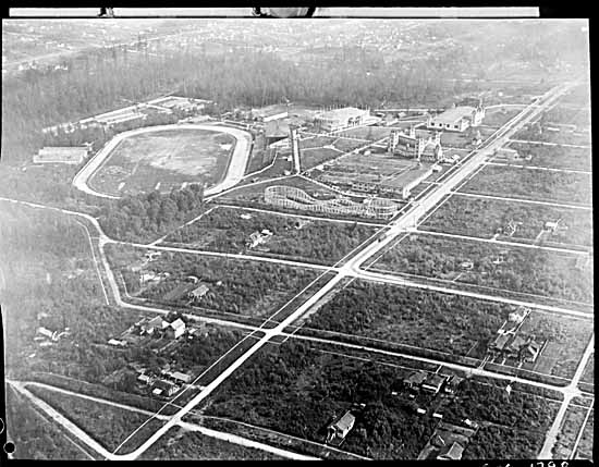 Aerial view of Hastings Park, ca. 1919. The park had been used as a barracks for soldiers during WWI, a relief camp in the 1920s, and an internment camp for Japanese during WWII. Photo: Stuart Thomson, Vancouver Public Library #1798