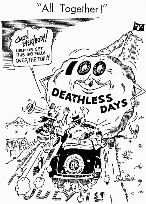 "Front page cartoon promoting the launch of ""100 Deathless Days."" Vancouver Sun, 1 July 1939"