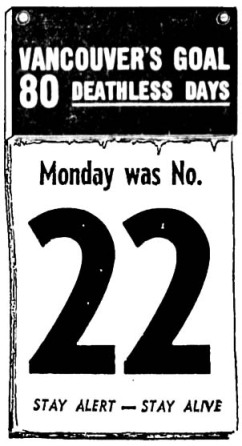 Notice from the 1956/7 80 Deathless Days Campaign. Portland & Seattle pulled it off, but not Vancouver. Vancouver Sun, 7 February 1956