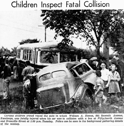 William Hanna forced the fourth restart of 100 Deathless Days when he crashed into a bus and died. Vancouver Sun, 19 July 1939