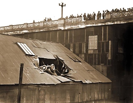 Car wreck off the old Georgia Viaduct, 1929. Stuart Thompson, City of Vancouver Archives #99-1915