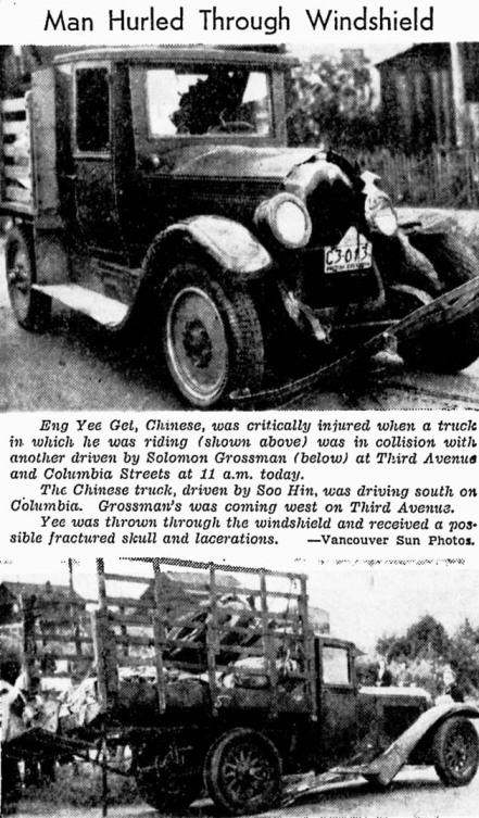 A man was thrown through the windshield of this car during 100 Deathless Days. He survived so it didn't affect the campaign. Vancouver Sun, 20 July 1939