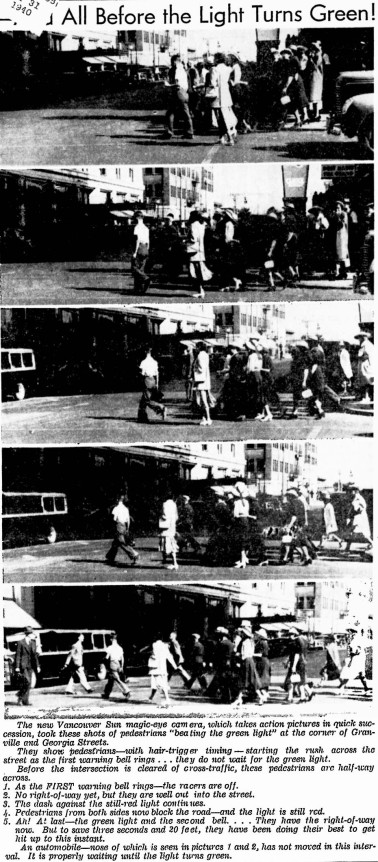 "Most of the Sun's brow beating was aimed at motorists, but their ""magic eye"" camera caught these pedestrians misbehaving at Granville & Georgia. Vancouver Sun, 5 August 1939"