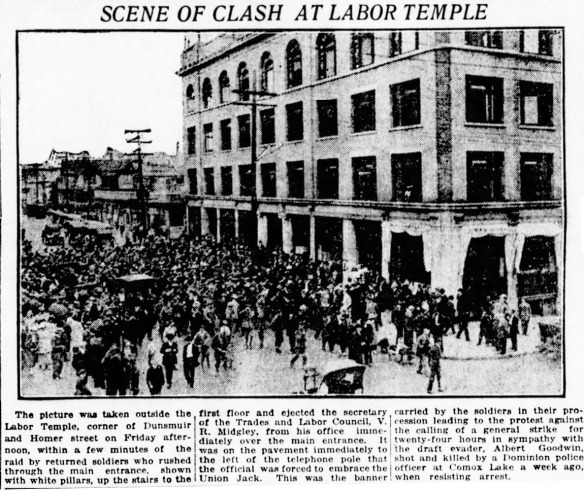 A mob of soldiers attacking the Labor Temple during the 1919 General Strike, called in sympathy with the Winnipeg General Strike. Vancouver Daily World, 3 August 1918