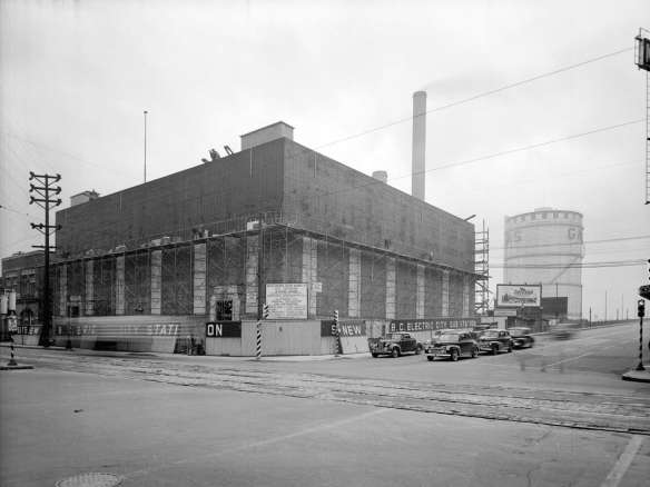 BC Hydro's Murrin Substation, at the southwest corner of Main and East Georgia streets, under construction in 1946. Photo by Don Coltman, City of Vancouver Archives #586-4792