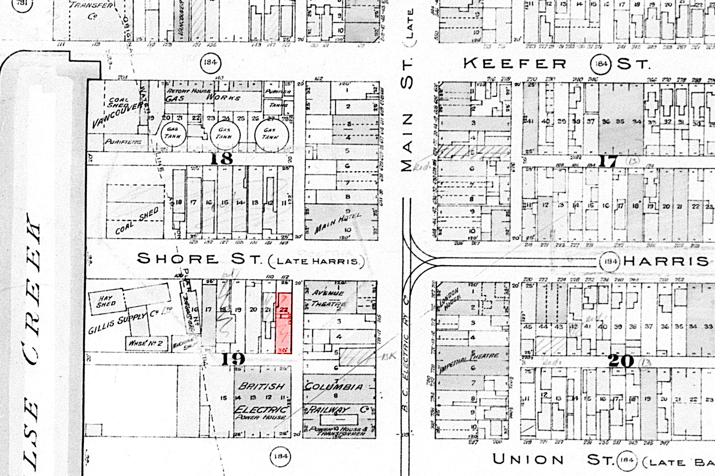 1913 insurance map showing the Lincoln Club building in red. Courtesy City of Vancouver Archives