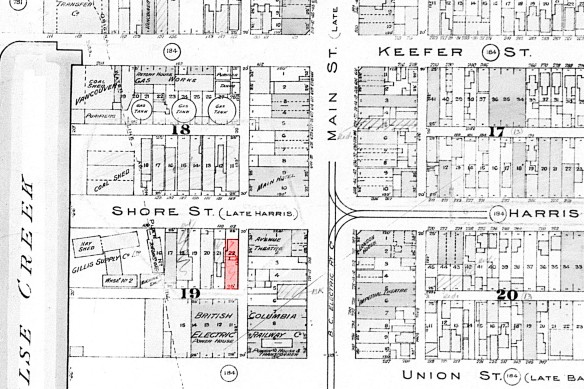 1913 Fire insurance map showing 102 East Georgia in red. City of Vancouver Archives