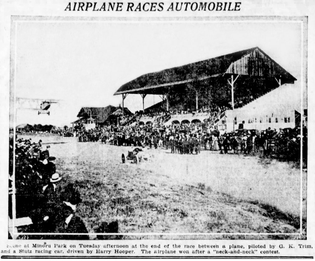 Harry Hooper racing a biplane at Minoru Park. Vancouver Daily World, 3 July 1919