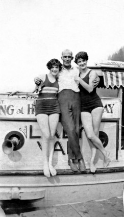 "Harry Hooper on his boat, ""The Lady Van,"" in the 1920s. CVA #371-380"