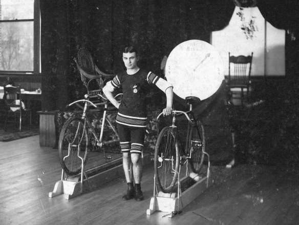 Harry Hooper with his bicycle training machine, 1901. Photo by Richard H Trueman, CVA #Trans P51