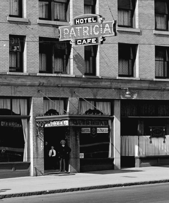 Patricia Hotel, 1917, the year prohibition prohibition and hot jazz came in. Photo by Stuart Thomson (cropped), City of Vancouver Archives #99-187