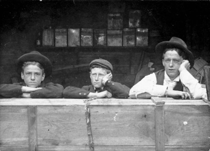 William Hood, Eddie Goddard, and an unknown boy, 1891. They might look bored, but there's a chance they're