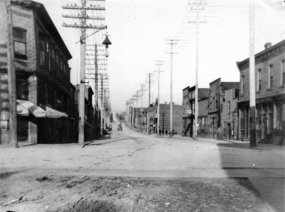 Dupont (now Pender) Street looking east from Carrall, ca. 1900. Photo by Philip T Timms, City of Vancouver Archives #677-26