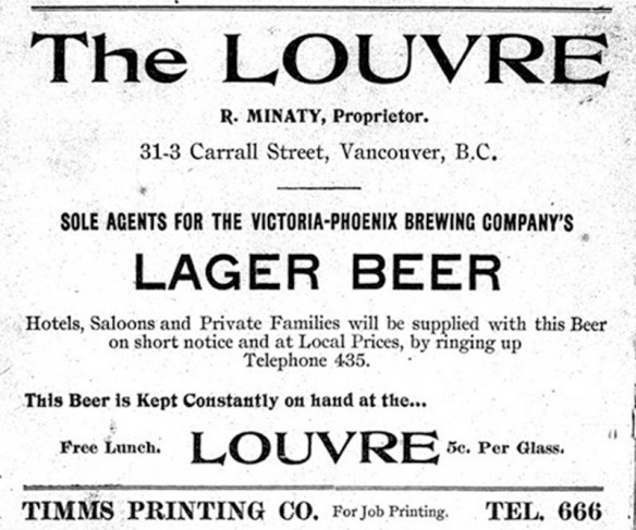 Ad for the Louvre Saloon from the Vancouver City Directory 1899-1900, via VPL.
